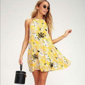LULU'S Yellow Tropical Swing Halter Mini Dress